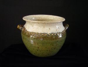 Green & White Spit Pot